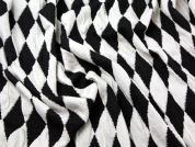 Diamond Jacquard Bonded Stretch Jersey Dress Fabric  Black & Ivory