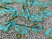 Patterned Stretch Jersey Dress Fabric  Turquoise