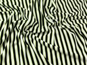 Stripe Ponte Roma Stretch Jersey Dress Fabric  Black Ivory Lime