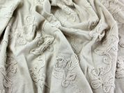 Frayed Embroidery Cotton Dress Fabric  Natural