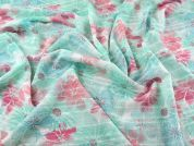 Floral Print Jacquard Georgette Dress Fabric  Turquoise & Pink