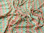 Colourful Patterned Chevron Lace Dress Fabric  Multicoloured