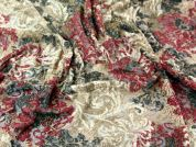All Over Flock Patterned Stretch Lace Dress Fabric  Wine