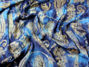 Metallic Paisley Print Stretch Jersey Dress Fabric  Blue & Gold