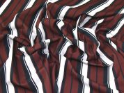 Stripe Print Scuba Stretch Jersey Dress Fabric  Black, Brown & Cream