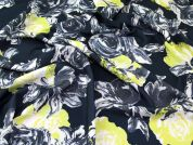 Graphic Floral Print Scuba Stretch Jersey Dress Fabric  Ink & Lime