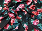 Floral Print Scuba Stretch Jersey Dress Fabric  Red on Black