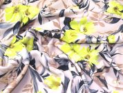 Floral Print Scuba Stretch Jersey Dress Fabric  Lime on Cream