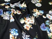 Floral Print Scuba Stretch Jersey Dress Fabric  Black