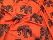 Funky Elephants Print Scuba Stretch Jersey Dress Fabric  Burnt Orange