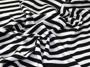 15mm Wide Stripe Print Scuba Stretch Jersey Dress Fabric  Black & White