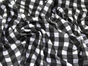 Gingham Check Print Stretch Jersey Dress Fabric  Black & White