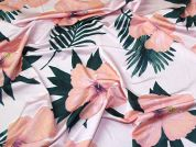 Glossy Large Floral Print Stretch Jersey Dress Fabric  Pink
