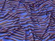 Colourful Zebra Print Stretch Viscose Jersey Knit Dress Fabric  Blue & Orange
