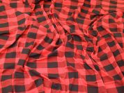 Check Plaid Print Stretch Viscose Jersey Knit Dress Fabric  Black & Red