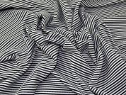 Stripey Metallic Rib Stretch Jersey Knit Dress Fabric  Black, White & Silver