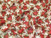 Vintage Style Floral Print Polyester Chiffon Dress Fabric  Red