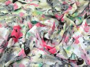 Watercolour Floral Print Polyester Chiffon Dress Fabric  Multicoloured