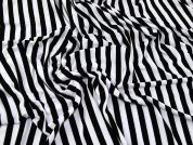 Stripey Viscose Stretch Jersey Knit Dress Fabric  Black & Ivory