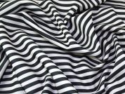 Stripe Print Scuba Stretch Jersey Dress Fabric  Dark Grey & White