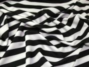Wide Stripe Print Scuba Stretch Jersey Dress Fabric  Black & White