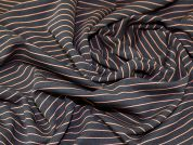 Stripey Polyester Stretch Jersey Knit Dress Fabric  Black & Orange