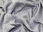 Variegated Thread Stretch Jersey Knit Rib Dress Fabric  Silver Grey