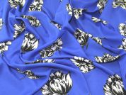 Bright Floral Print Polyester Crepe Dress Fabric  Blue