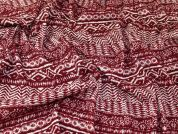 Sparkly Stripe Design Stretch Jersey Knit Dress Fabric  Wine