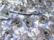 Floral Print Polyester Chiffon Dress Fabric  Blue & Ivory