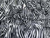 Animal Print Slinky Stretch Jersey Knit Dress Fabric  Black, Grey & Cream