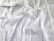 Textured Stripe Cotton Voile Dress Fabric  White