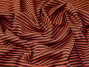 Heavy Chunky Stripey Knit Dress Fabric  Orange & Brown
