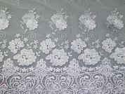 Scalloped Edge Embroidered Tulle Lace Dress Fabric  White