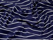 Lurex Stripe Stretch Jersey Knit Dress Fabric  Navy Blue & Silver