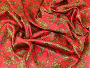 Printed Pattern Polyester Satin Dress Fabric  Red & Gold