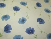 Large Floral Print Cotton Canvas Fabric  Cream & Blue