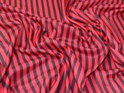 Stripey Polyester Stretch Jersey Knit Dress Fabric  Red & Navy