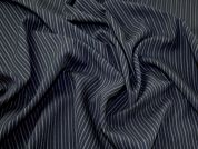 Classic Pinstripe Polyester Suiting Dress Fabric  Black