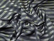 Woven Stripe Brocade Dress Fabric  Black & Pewter