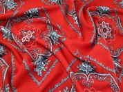 Patterned Polyester Woven Suiting Dress Fabric  Red