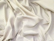 Stripey Crinkled Cotton Seersucker Dress Fabric  White & Cream