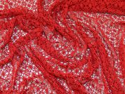 Crochet Effect Lace Dress Fabric  Red