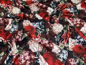 Floral Print Ponte Roma Stretch Jersey Knit Dress Fabric  Multicoloured