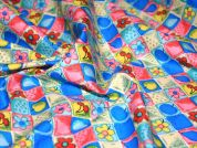 Fruit & Floral Squares Cotton Poplin Fabric  Multicoloured