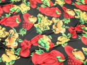 Fruit Print Stretch Jersey Dress Fabric  Black