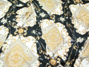 Large Print Stretch Jersey Dress Fabric  Black & Gold
