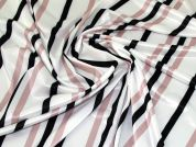 Satin Jersey Knit Fabric  Ivory, Black & Blush