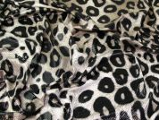 Coated Jersey Knit Fabric  Black & Taupe