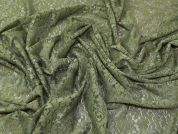 Floral Stretch Lace Fabric  Green